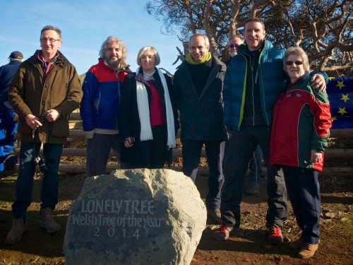Lonely Tree Committee with Iolo Williams at the recent stone unveiling.