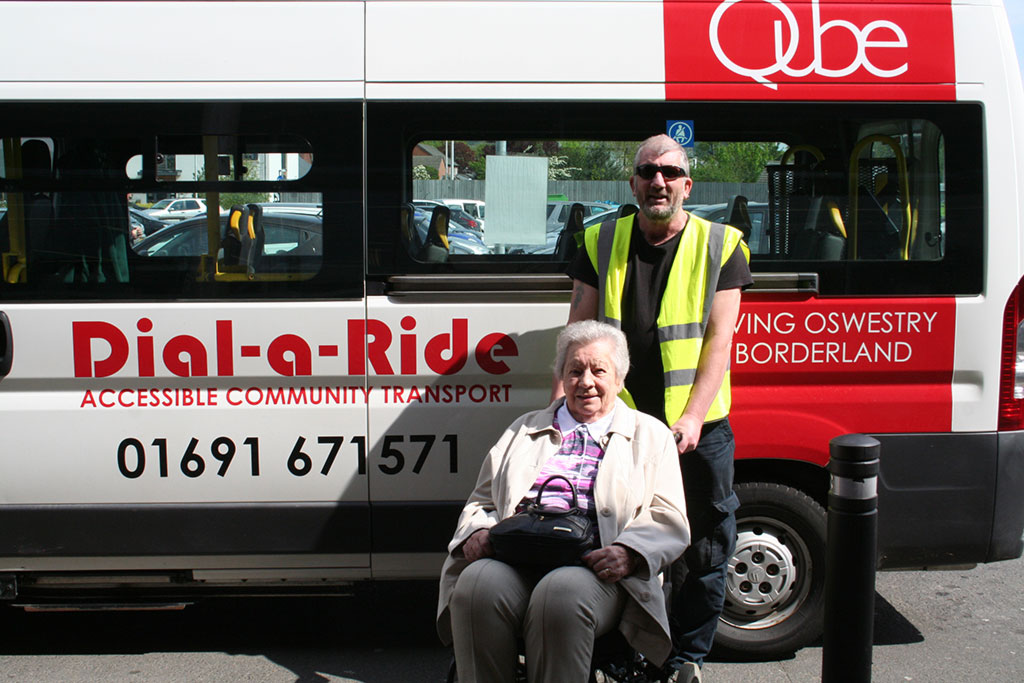 Friday Bus and Shop 1- Volunteer driver Steve Roberts with shopper, Alma Pardue.JPG