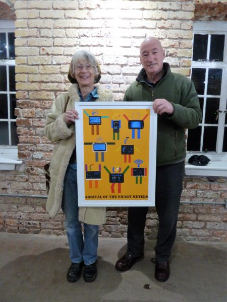Trustees Iris Gordijn and Richard Dix with the Peter Blake print