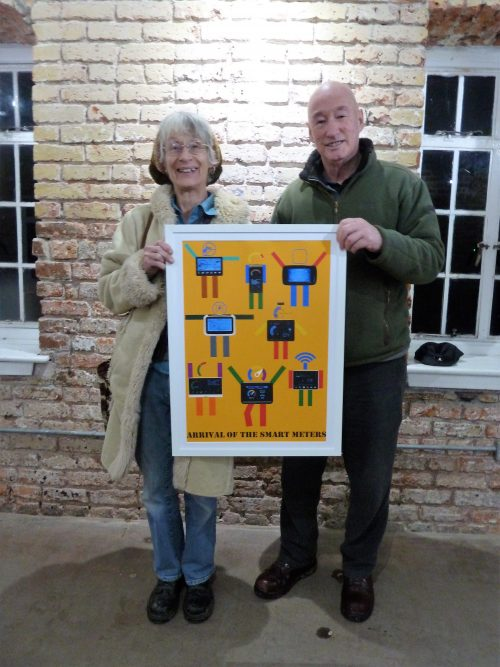 Trustees Iris Gordijn and Richard Dix with the Peter Blake print